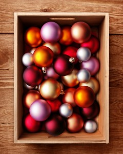 Christmas decorations in a box
